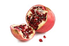 Split Pomegranate. Pomegranate split open showing the delicious and very healthy arils Stock Image