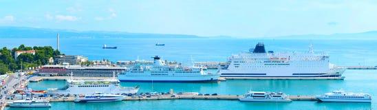 Split port panorama Royalty Free Stock Images