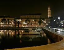 Split - porto na noite Imagem de Stock Royalty Free