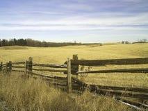 Split Rail Fence. A split rail fence borders a field of winter grass royalty free stock photo