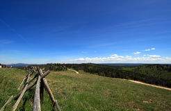Split Rail Fence along the Cement Ridge dirt road in the Black Hills of South Dakota USA Royalty Free Stock Photography