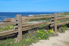 Split-rail fence at Asilomar State beach in Pacific Grove, Calif Royalty Free Stock Photo