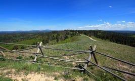 Split Rail Fence on Cement Ridge in the Black Hills of South Dakota Royalty Free Stock Photo