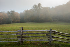 Split Rail Fence On Edge of Foggy Field. Along blue Ridge Parkway stock images