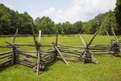 Split-Rail Fence in Farm Field Royalty Free Stock Photo