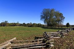 Split Rail Fence and Field. The countryside of Appomattox Court House in Virginia where the Confederate Army surrendered royalty free stock image