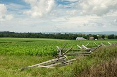 Split Rail Fence. A split rail fence and fields of the Gettysburg National Military Park Stock Images
