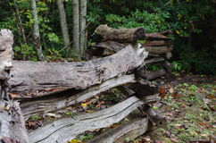 A split rail fence leading into an Appalachian forest. A split rail fence leading into a green forest in the Blue Ridge Mountains of Appalachia Stock Photography
