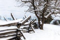 Split-Rail Fence. An old style split-rail fence in the beautiful snowy fields of Manassas, Virginia stock photography