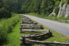Split Rail fence by the Road Stock Image