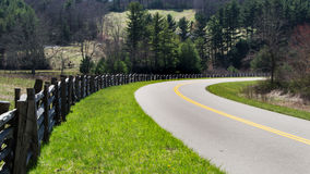 Split Rail Fence and Roadway on the Blue Ridge Parkway in North Carolina, USA Stock Image