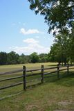 Split Rail Fence. A split rail fence at the edge of a field stock photography