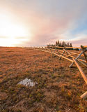 Split Rail Fence at sunrise above Lost Water Canyon in the Pryor Mountains Wild Horse range on the Montana Wyoming state line Royalty Free Stock Photography