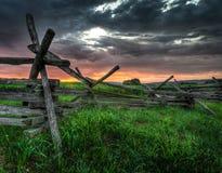 Split-Rail Fence and Sunrise stock images