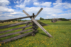 Split Rail Fence Under Blue Sky Stock Photo