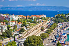 Split railway station and harbor aerial view Stock Photography
