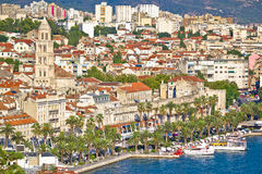 Split Riva waterfront and Diocletian's palace view. Dalmatia, Croatia Stock Photography