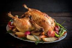 Split roasted stuffed turkey Stock Photography