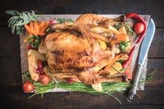 Split roasted and stuffed turkey Stock Photos