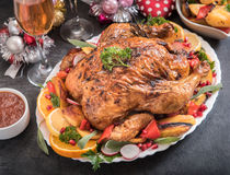 Split roasted turkey Stock Images