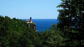 Split Rock historical lighthouse on the cliff over north shore of Lake Superior in Minnesota. stock footage