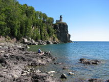 Split Rock Light House. From the shore of Lake Superior Stock Image