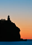 Split Rock Lighthouse Sunrise Silhouette Stock Photography