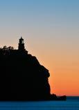 Split Rock Lighthouse Sunrise Silhouette Stock Photography