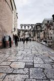 Split`s Old Town, SPLIT, CROATIA. SPLIT, CROATIA - NOVEMBER 5, 2014 : Split`s Old Town stock photo