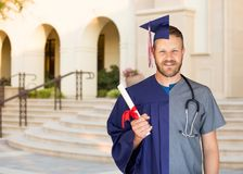 Split Screen of Caucasian Male As Graduate and Nurse On Campus or At Hospital. Split Screen of Caucasian Male As Graduate and Nurse On Campus or At a Hospital stock photo