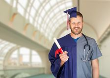 Split Screen of Caucasian Male As Graduate and Nurse On Campus or At Hospital. Split Screen of Caucasian Male As Graduate and Nurse On Campus or At a Hospital stock photos