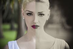 Split screen of color and vintage black and white beautiful young blond woman stock image