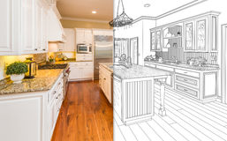 Split Screen Of Drawing and Photo of New Kitchen royalty free illustration