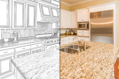 Split Screen Of Drawing and Photo of New Kitchen vector illustration