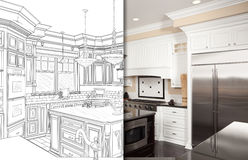 Split Screen Of Drawing and Photo of New Kitchen. Split Screen Of Drawing and Photo of Beautiful New Kitchen royalty free illustration