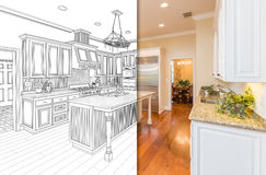Split Screen Of Drawing and Photo of New Kitchen stock illustration