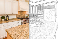 Split Screen Of Drawing and Photo of New Kitchen Stock Image