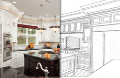Split Screen Of Drawing and Photo of New Kitchen royalty free stock photos