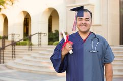 Split Screen of Hispanic Male As Graduate and Nurse On Campus or At Hospital. Split Screen of Hispanic Male As Graduate and Nurse On Campus or At a Hospital stock images