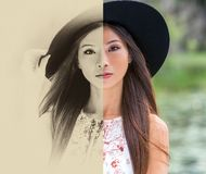 Split screen, sepia black and white and color, beautiful thoughtful young Chinese Asian woman stock image