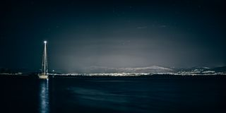 Split sea side by the night Royalty Free Stock Photography
