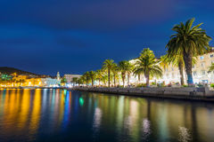 Split seafront at night Royalty Free Stock Photography
