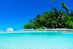 Split shot of tropical island. Over under shot Royalty Free Stock Photography