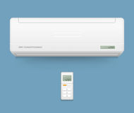Split system air conditioner. Cool and cold climate control system.  Royalty Free Stock Photography