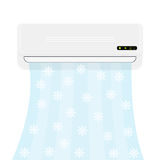 Split system air conditioner. Realistic conditioner with cold air with snowflakes. Vector illustration isolated on white Stock Photo