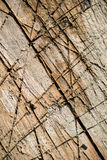 Split ted wood with different shades and covered with deep cuts and scratches. Diagonal split ted wood with different shades and covered with deep cuts and Stock Photography