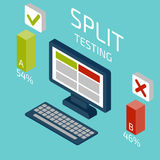 Split testing isometric. Vector illustration. Stock Photo