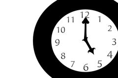 Split Time. A simple illustration of a clock with the hour and minute hands at five o'clock Royalty Free Stock Photography