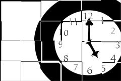 Split Time. A simple illustration of a clock with the hour and minute hands at five o'clock Stock Image