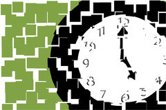 Split Time. A simple illustration of a clock with the hour and minute hands at five o'clock Stock Images
